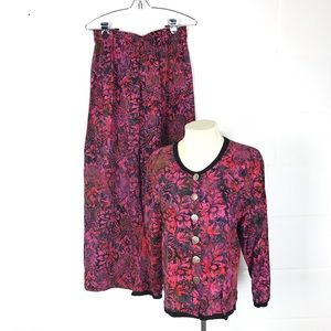 Very Vineyard batik outfit Sz  M jacket top